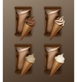 Set of Chocolate Ice Cream Waffle Cone with Foil vector image vector image