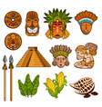 set of ethnic ancient cultural elements vector image