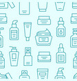 skin care seamless pattern with line icons vector image vector image
