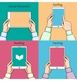 Smartphones tablets and e-book in the hands vector image