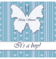 Striped-background-baby-shower-butterfly-blue vector image vector image