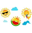 summer vacation set of happy sun icons vector image