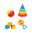 toys pyramid cubics ball and rattle toy vector image vector image