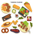 turkish cuisine set traditional dishes recipes vector image