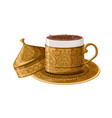 turkish traditional decorated copper coffee cup vector image vector image