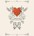 vintage valentine card with keys heart and cupids vector image