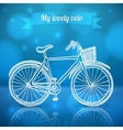 White doodle bike on blue background vector image vector image