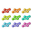 flat cartoon dumbbells set vector image