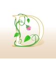 Letter D with an vintage floral pattern vector image
