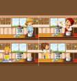 four kitchen scenes with man and woman cooking vector image