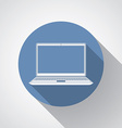 Laptop flat icon with long shadow vector image