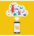 mobile shopping woman vector image