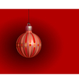 red christmas ball on a red background vector image