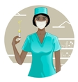 African american nurse with syringe eps10 vector image