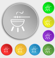 barbecue icon sign Symbol on eight flat buttons vector image