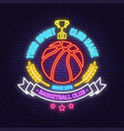 basketball sport club badge neon design or emblem vector image vector image