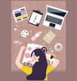 busy woman designer artist taking a nap on working vector image vector image