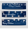 Christmas banners with shining garlands vector image vector image