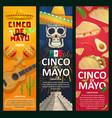 cinco de mayo mexican holiday banners vector image vector image