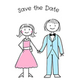 Cute cartoon wedding invitation template vector image vector image