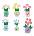 cute flower pot with smiley face vector image vector image