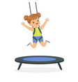 cute little girl jumping on trampoline kid have a vector image vector image