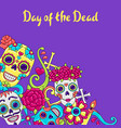 day dead invitation card sugar skulls vector image