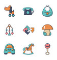 educational toys icons set flat style vector image