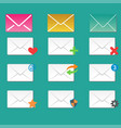 email envelope cover icons communication and vector image