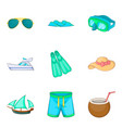 exploring the seabed icons set cartoon style vector image vector image