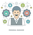 Flat line Personal Manager Concept vector image vector image