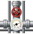 Gas pipe valve pressure meter vector image vector image