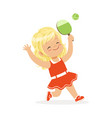 girl playing table tennis kid serving ping pong vector image vector image