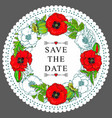 hand drawn poppy save date circle frame vector image vector image
