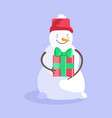 happy snowman holding christmas gift box isolated vector image vector image
