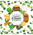 happy st patrick circle sticker with event vector image vector image