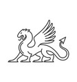 heraldic dragon silhouette logo on white vector image