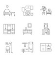 home furniture icon set outline style vector image