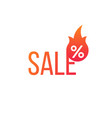 hot sale flame and percent sign label sticker vector image