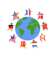 international people with flag around world vector image vector image
