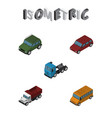 isometric transport set of armored freight truck vector image vector image