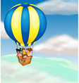 kids in hot air balloon vector image vector image