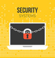lock and chain on laptop vector image