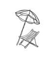 lounge chair with sun umbrella draw vector image