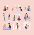 love dating and wedding couple relationship vector image