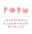 memphis flat line alphabet geometric funny font vector image