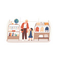 mother and kid doing shopping choosing schoolbag vector image vector image
