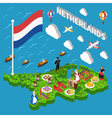 netherlands tourist map vector image vector image
