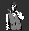 old-fashioned man holding a revolver vector image vector image