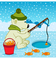 Polar bear on fishing vector image vector image